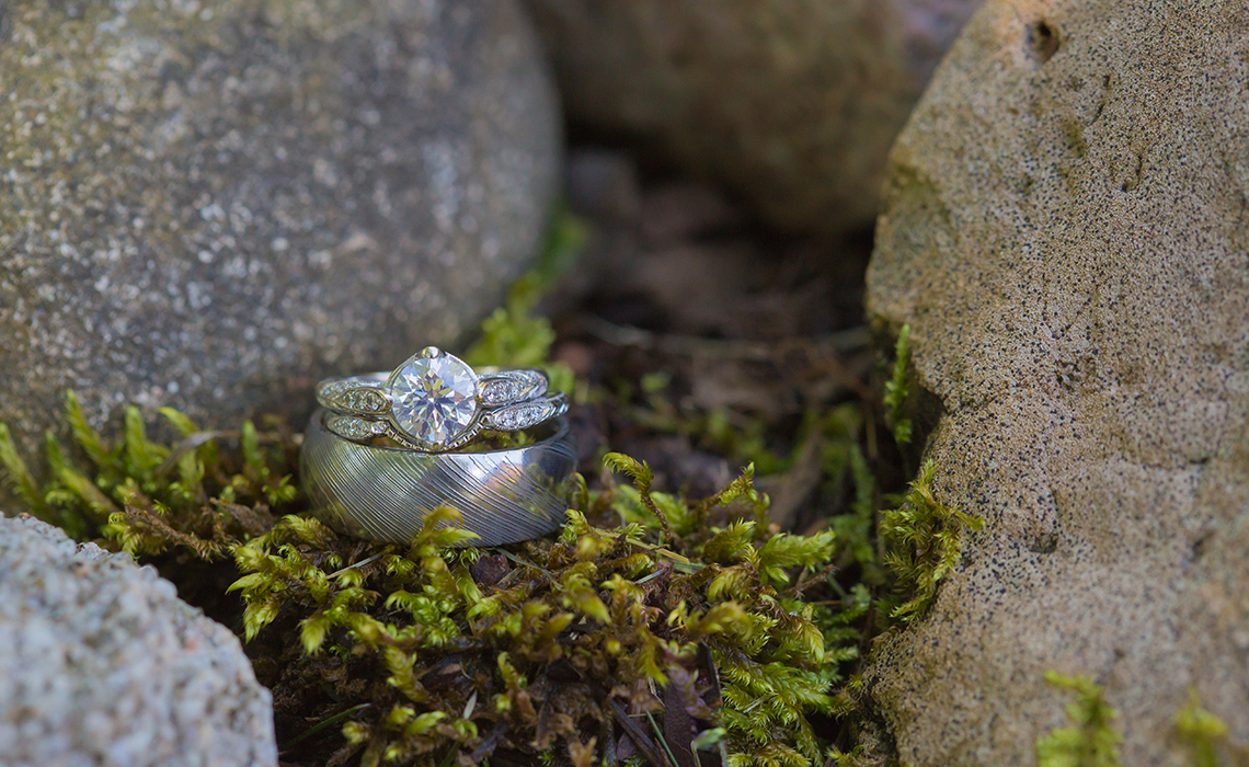 The bride's ring in perfect forest moss at the A Ga Ming Golf Resort in Kewadin, Michigan.