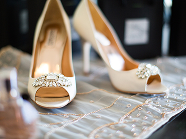 Candices Bridal Shoes before her wedding at the Masonic Temple and Inn at St. Johns